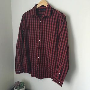Red and black Tommy Hilfiger plaid button down